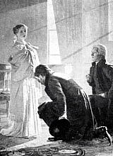 Victoria receives the news of her accession to the throne from Lord Conyngham (left) and the Archbishop of Canterbury.