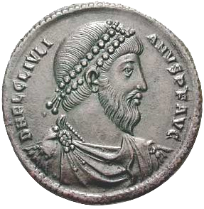 Portrait of Emperor Julian on a bronze coin from Antioch minted in 360–363